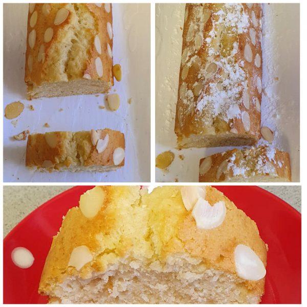 עוגה בטעם מנגו בציפוי פרוסות שקד