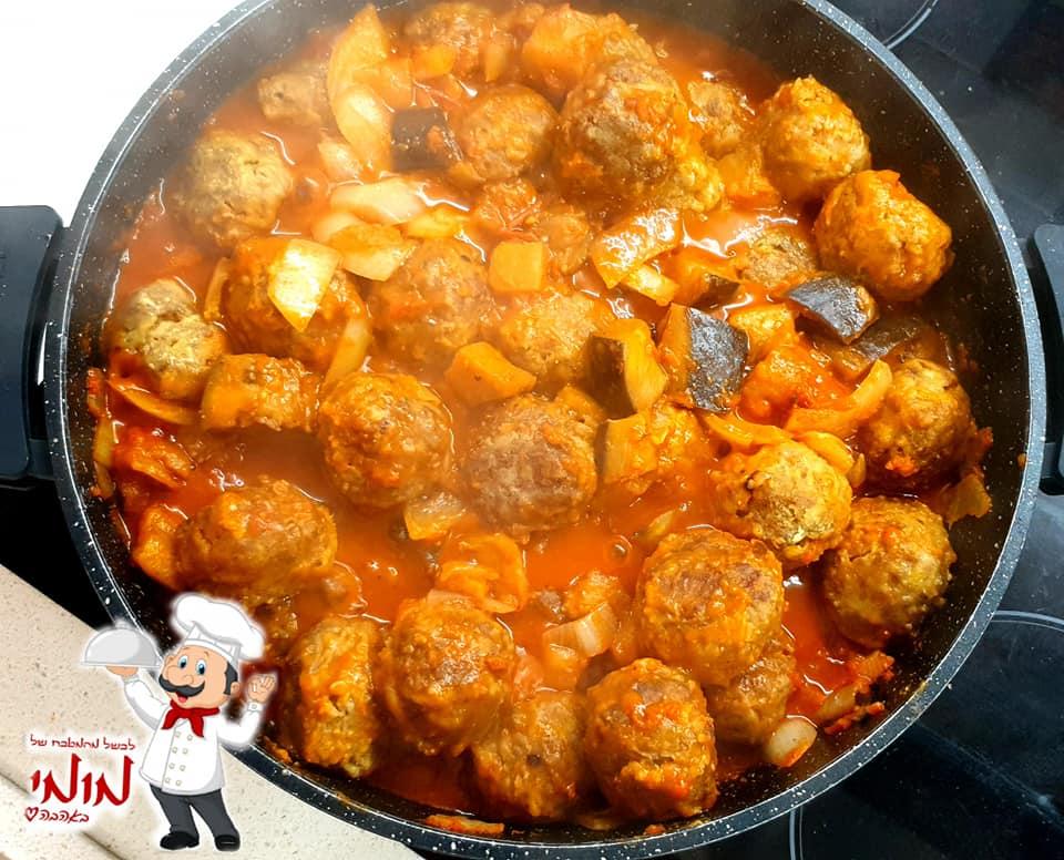 קציצות בשר ברוטב עגבניות וחצילים_מתכון של טלי כהן שטרלינג