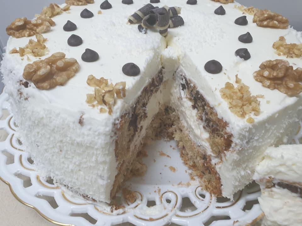 עוגת שקדים קוקוס ושוקולד ❤_מתכון של ירדנה ג'נאח