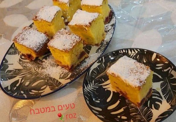 עוגה בחושה עם דובדבני אמרנה_מתכון של רוז טעים במטבח אוחנה – מאסטר מתכונים